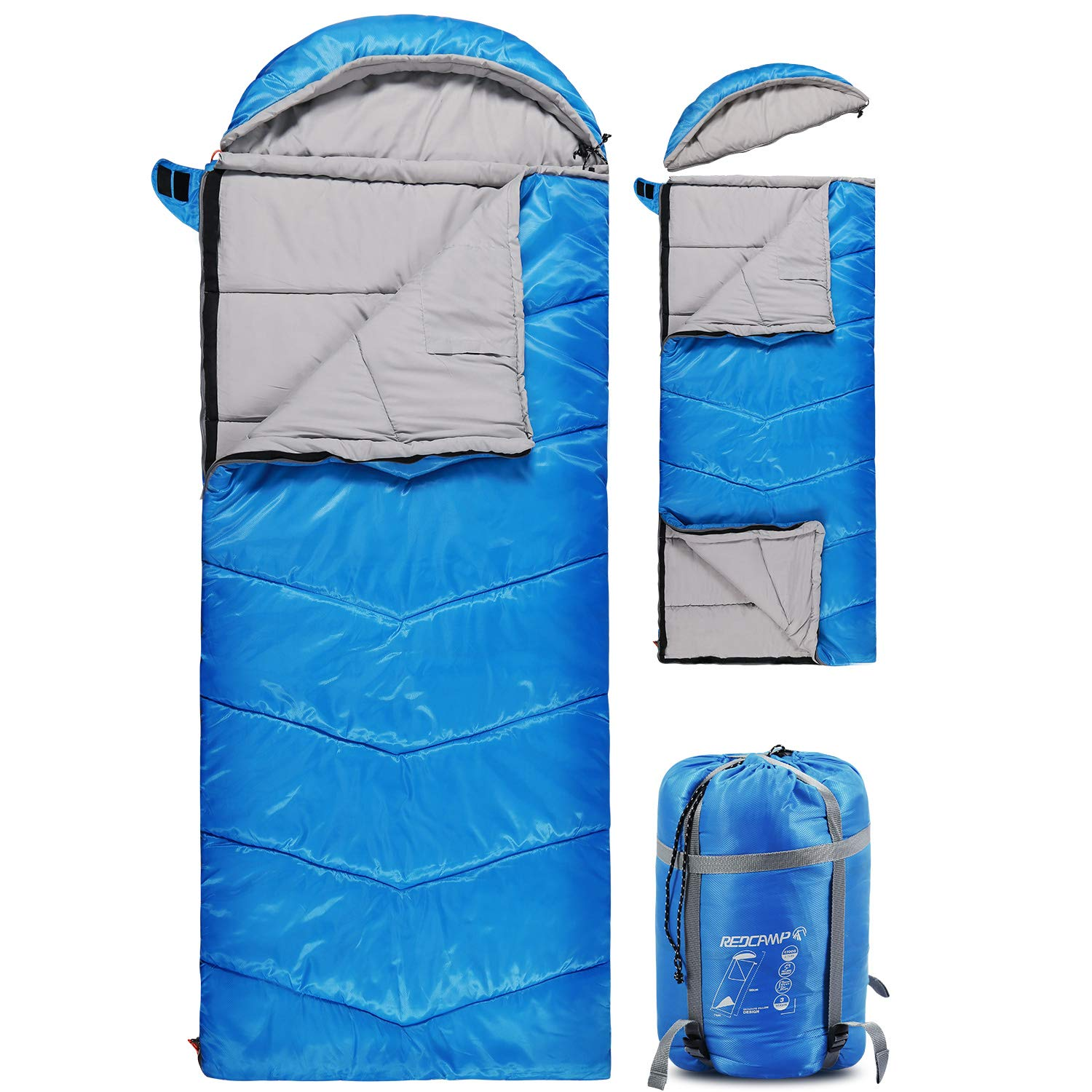 REDCAMP Kids Sleeping Bag for Camping with Detachable Hood, 50 Degree 3 Season Warm or Cold Weather Fit Boys, Girls & Teens (Blue with 3lbs Filling) by REDCAMP