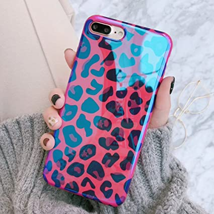 014830955a5e3 Keklle Girls Theme iPhone Soft Case, Pink Blue Cute Animal Print iPhone  Cover Blue-Ray Exotic Girly Fashion Stylish iPhone Case (Rose Red Leopard,  ...