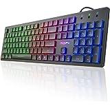 MOFII USB LED Backlit Keyboard,Water Resistance Colorful Illuminated Backlit Keyboard for PC, MAC