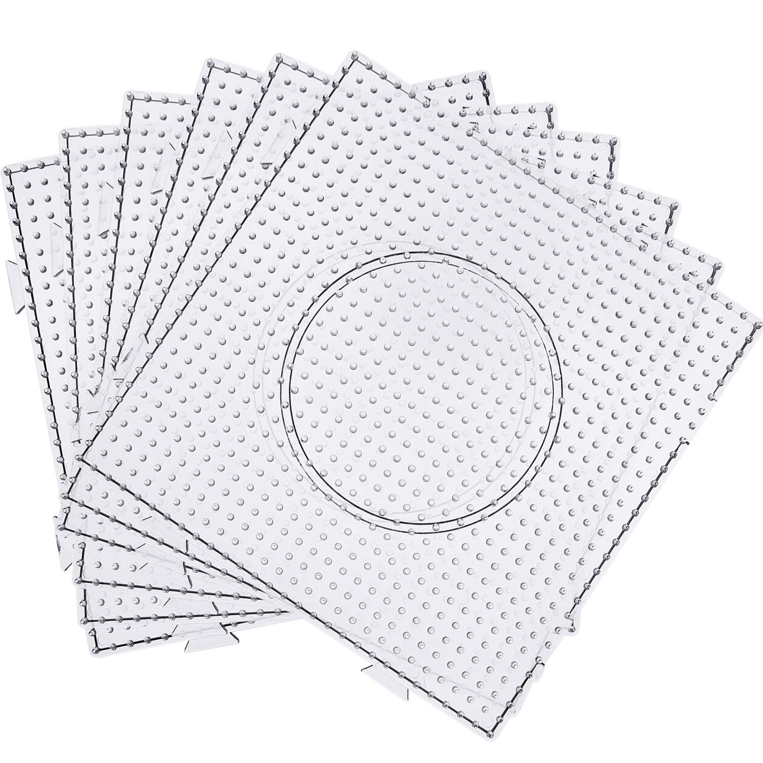 Maxdot 5 mm Large Square Fuse Beads Boards Clear Plastic Pegboards for Kids Craft Beads (12 Pieces) by Maxdot
