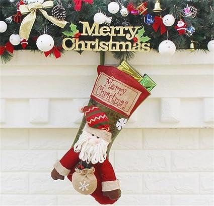 Calcetín de Navidad calcetines bolsas de dulces con bonito cláusula de Papá Noel reno muñeco de