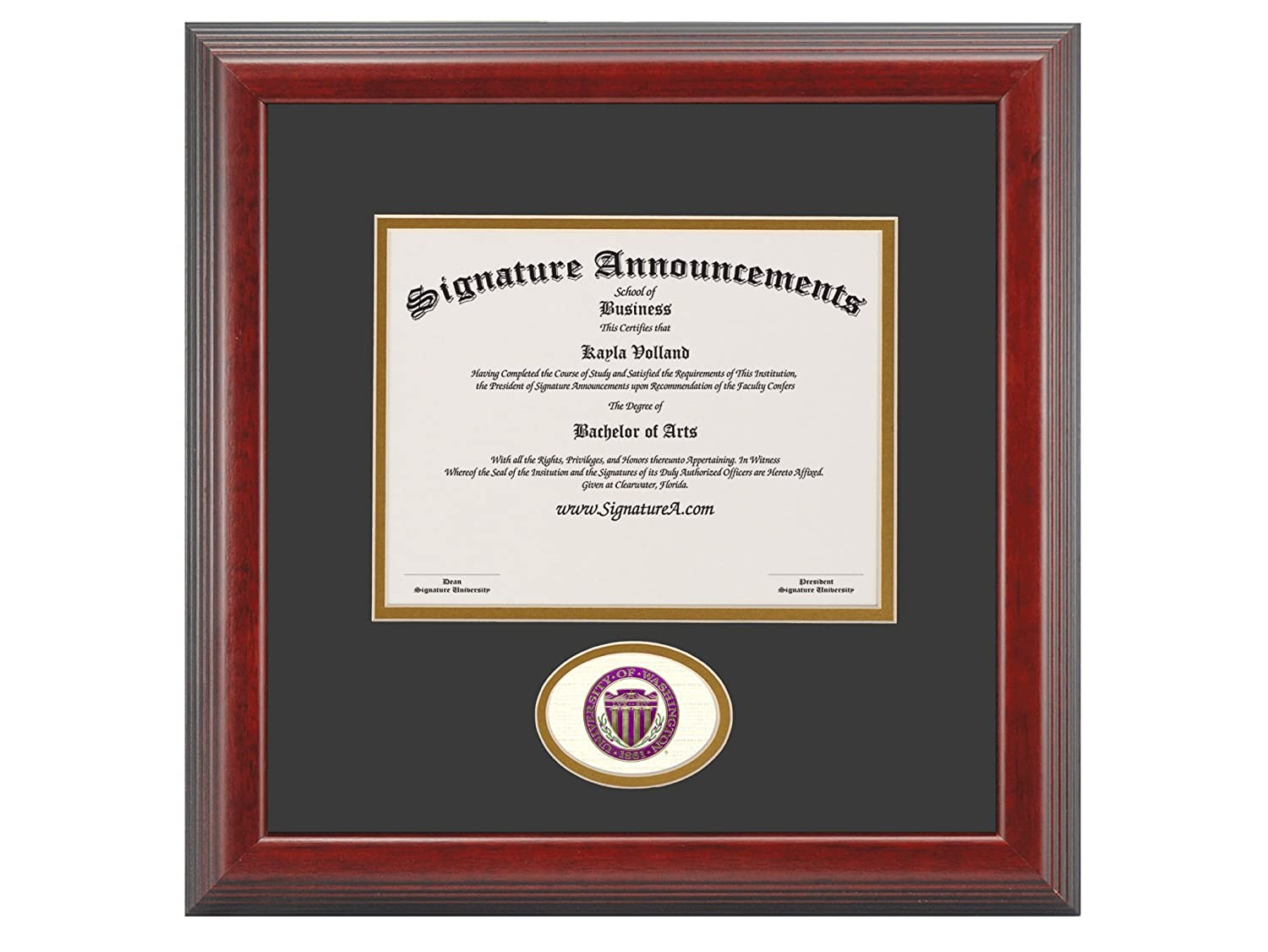 Professional//Doctor Sculpted Foil Seal Graduation Diploma Frame 16 x 16 Cherry Signature Announcements University-of-Washington-Bothell Undergraduate