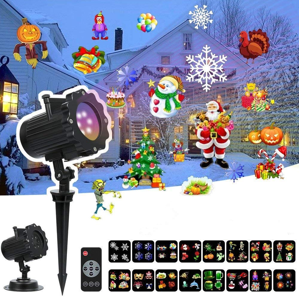 LED Christmas Projector Lights - Led Landscape Spotlight with 16 Full Color Slides Motion Led Light Projector for Christmas,Halloween,Thanksgiving,Birthday,Party,Easter,Wedding,Holiday Decoration