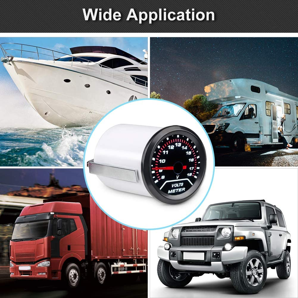 WATERWICH DC 12V Voltmeter Volt Gauge Voltage Meter Kit 2inches 52mm Universal for Car Truck Vehicle Automotive