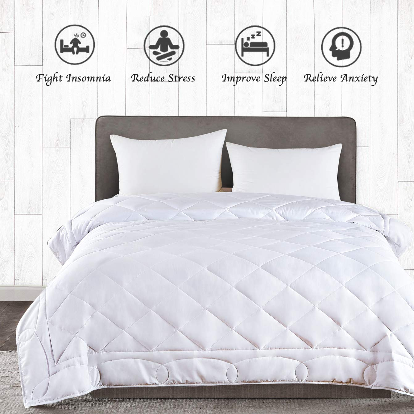 JOLLYVOGUE King Size Weighted Blanket(20lbs,88x104Inches),Queen or King Size Bed Adult Weighted Blanket with 100% Soft Cotton and Glass Beads-White