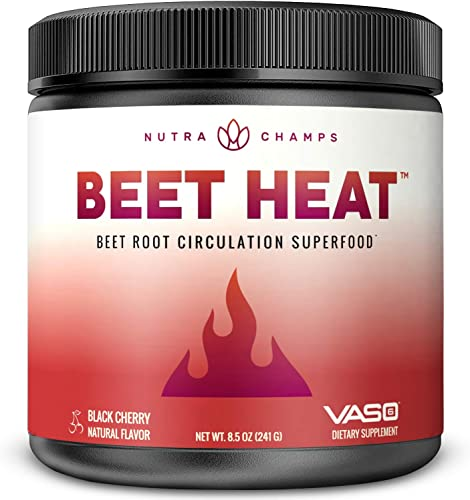 Beet Root Powder Premium Circulation Superfood for Endurance, Energy Recovery Patented Clinically Proven – Beet Heat Nitric Oxide Supplement Enhanced with Vaso6 Grape Seed Extract – No Sugar