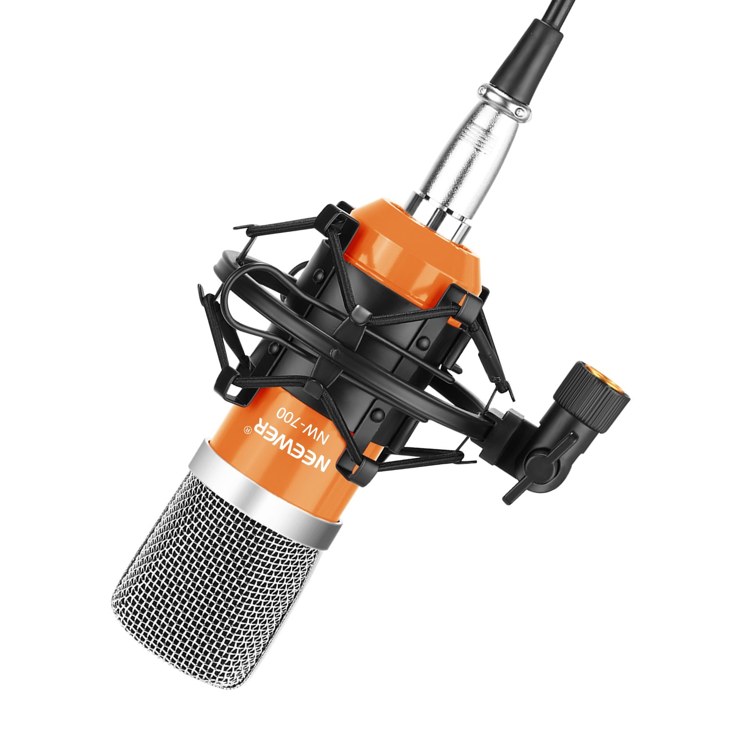 Neewer WHLC114® NW-700 Professional Studio Broadcasting & Recording Condenser Microphone Set Including: (1)NW-700 Condenser Microphone + (1)Metal Microphone Shock Mount + (1)Ball-type Anti-wind Foam Cap + (1)Microphone Audio Cable (Black) NEEWN 4008472