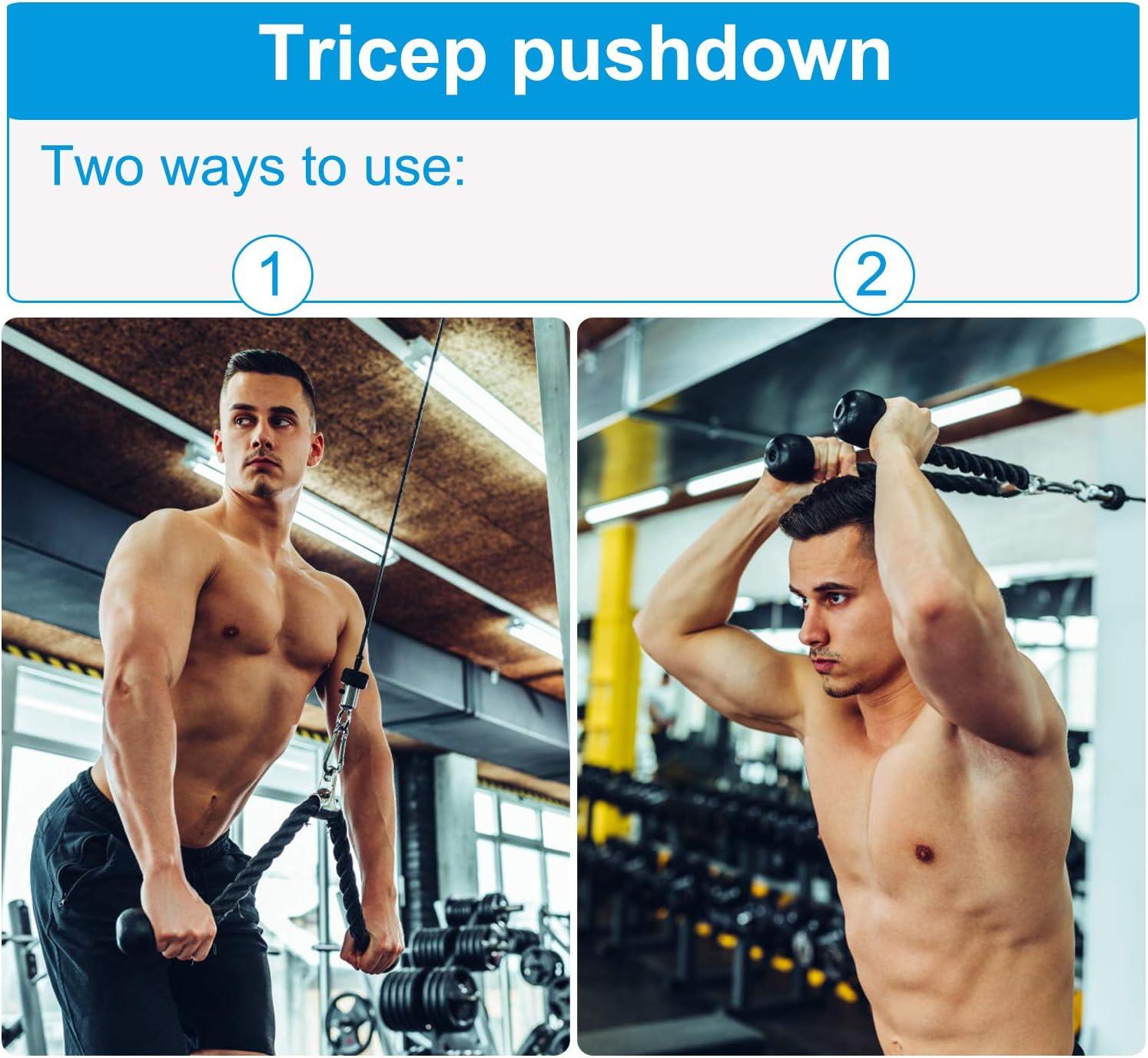 hombros Deltoides Polea de musculaci/ón con cuerda de punto peso m/áximo 50 kg para ejercicio delantero y brazo
