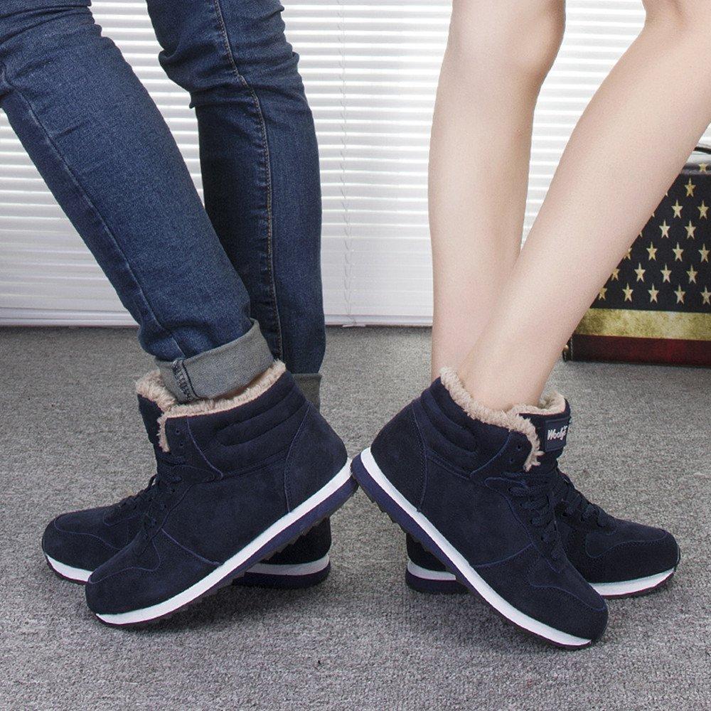 Rioneo Chaussures Bottes Hiver De Neige Femme Homme Boots Fourrees Bottines Mode Courts avec Doublure Chaude Noir Bleu 35 46