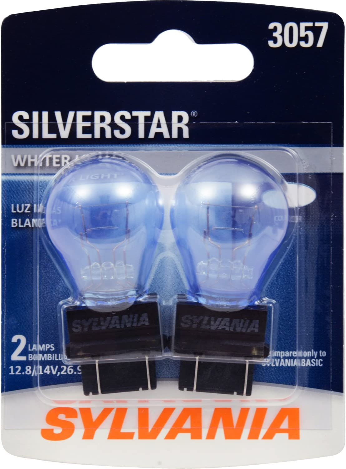 SYLVANIA - 3057 SilverStar Mini Bulb - Brighter and Whiter Light, Ideal for Daytime Running Lights (DRL) and Back-Up/Reverse Lights (Contains 2 Bulbs)