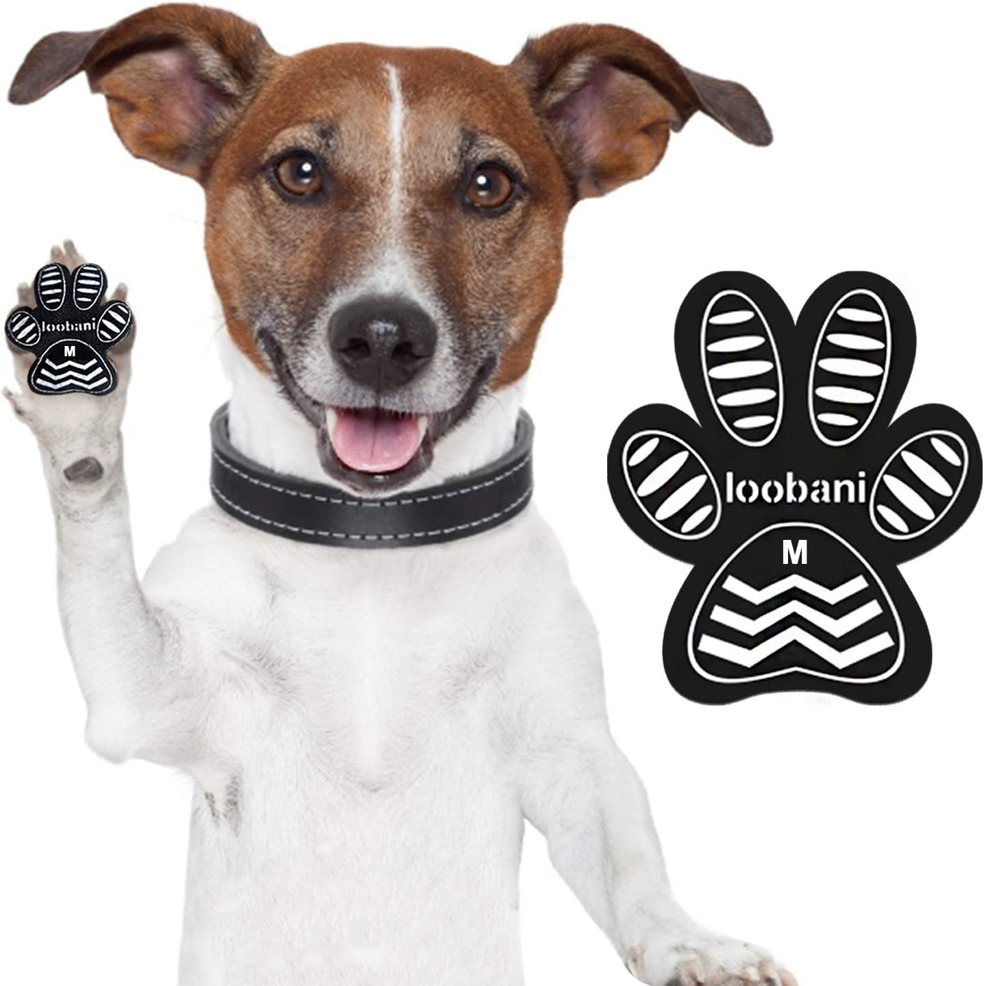 LOOBANI Dog Grip Pad Paw Protector Anti-Slip Traction Pads from Slipping on Hardwood Floors, Protection for Injuries and Brace for Weak Paws(6 Sets 24 Pads-M)