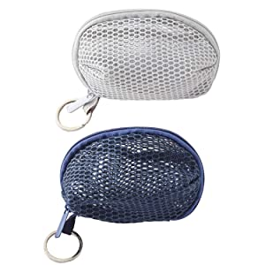 Chris.W 2 Pack Mini Beauty Mesh Baggie Blender Travel Case, Small Cosmetic Travel Toiletry Bag, Zippered Carry Pouch with Keyring for Makeup Sponge Puff Lipstick Storage(Blue+Grey)