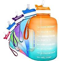 QuiFit Drinkfles van 2,2 liter, met opdruk: drinkstimulatie & flipstro, grote drinkfles, fitness, gym, onderweg joggen…