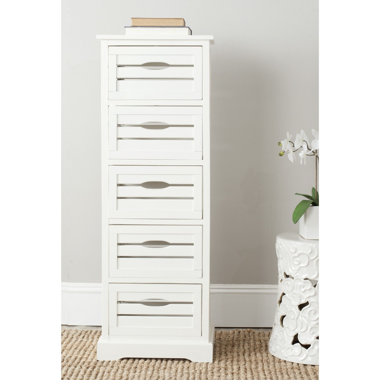 Safavieh American Homes Collection Sarina 5-Drawer Cabinet, Distressed Cream