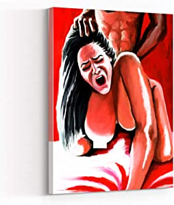WALL ART FOR LIVING ROOM ,wall decor for men ,bedroom wall art ,Lust And Pain Sensual Modern Art Oil Painting Sex Erotic Mature Nude Woman,12''x18'' Framed Modern Canvas Wall Art,