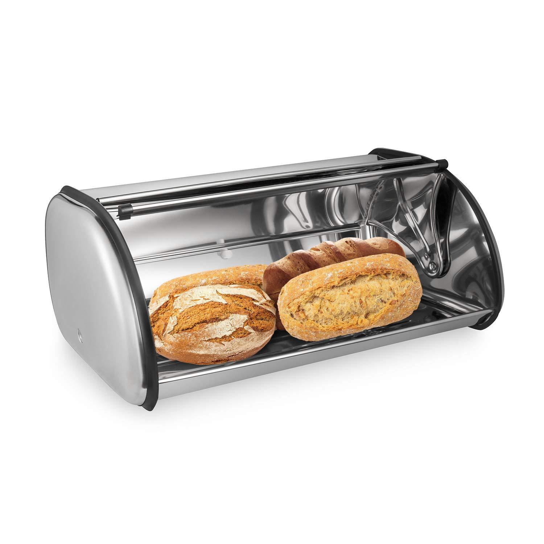 Muffin Bandeja de Pan de Gran Capacidad para Tarta de Queso para el hogar Oumefar Caja de Pan con Tapa Enrollable de Acero Inoxidable White