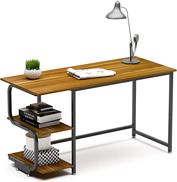 Teraves Reversible Computer Desk for Small Spaces with Shelves