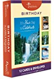 12PK Boxed Waterfalls Birthday Cards Bulk with KJV Scriptures – Waterfall Greeting Cards BDAY for Her for Him