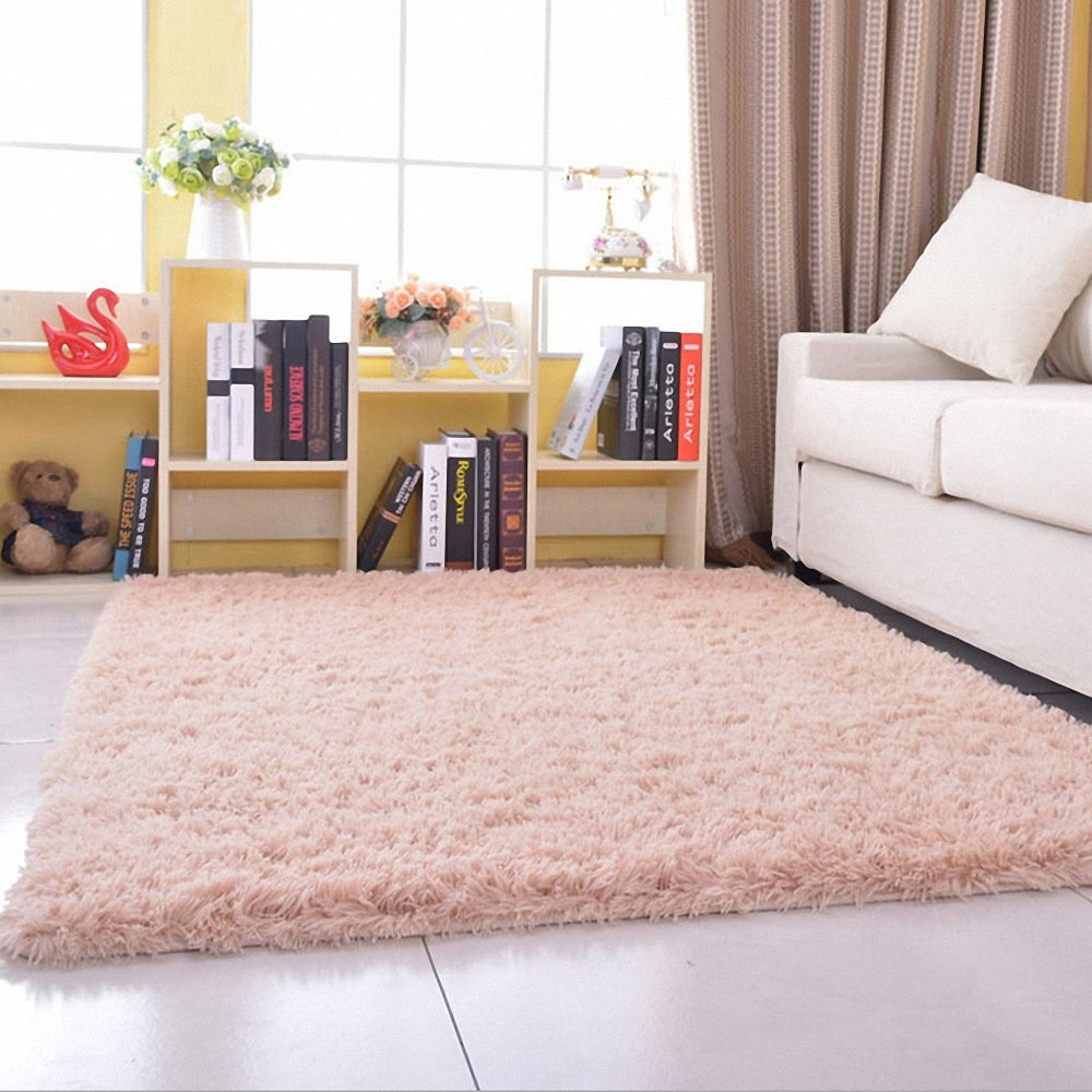 HANYUN Super Soft Modern Living Room Bedroom Anti-Skid Shag Area Rug Carpet 3-Feet by 5-Feet/100cm x 160cm x 4.5cm (Beige)