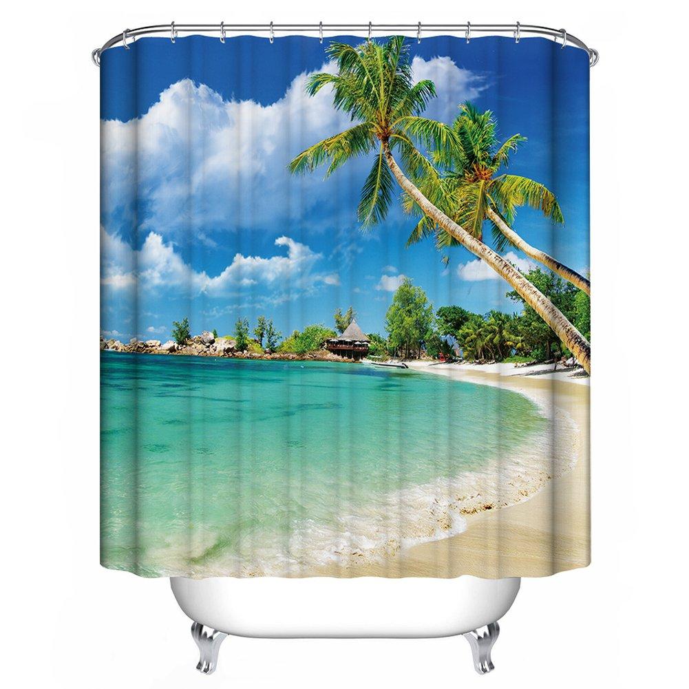 GraceFINE Shower Curtain 3D Polyester Fabric Waterproof Bath Curtains Antibacterial Bathroom Curtain with Hooks 180*180cm (Beach)