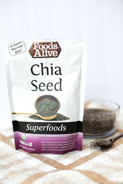 Alimentos Alive Guerrero Tamaño Chia semillas, 16 onzas ...
