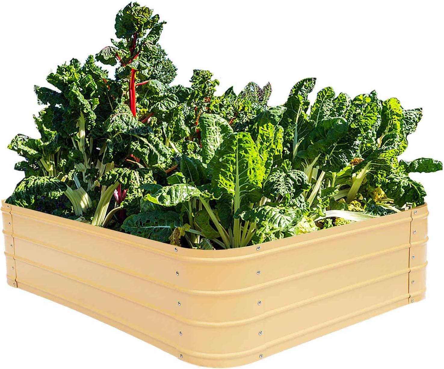 Metal Raised Garden Beds for Vegetables Outdoor Planter Box Galvanized Steel Gardening Flower Bed Kits 4x3x1 Ft (Wheat)