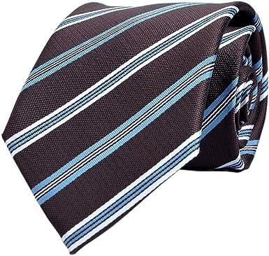 LUISDAN Stripe Tie Jacquard Woven Microfiber Formal Men's Neckties -  Various Styles (Black) at Amazon Men's Clothing store