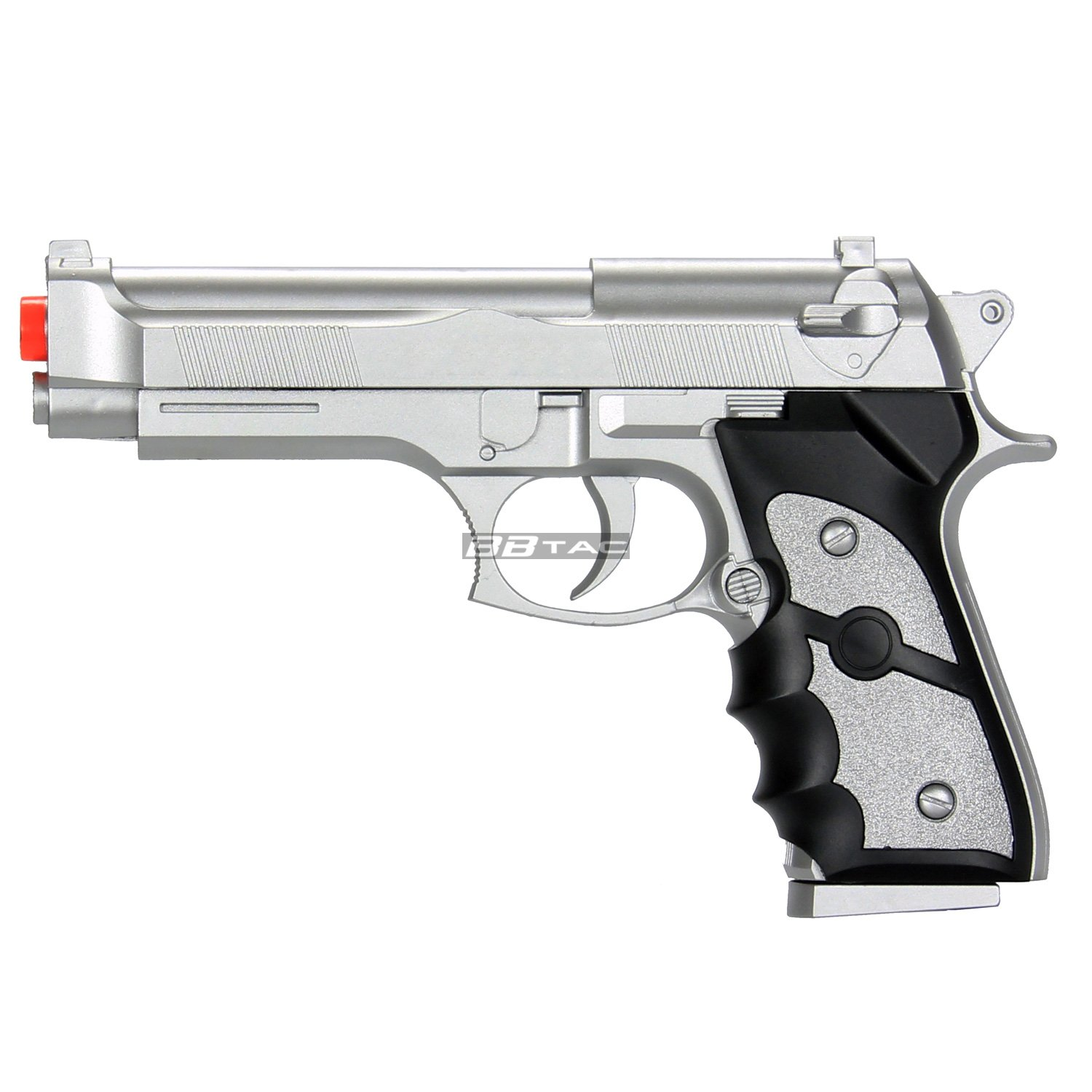 BBTac Airsoft Spring Pistol Silver 150 FPS Spring Loaded Power Airsoft Gun