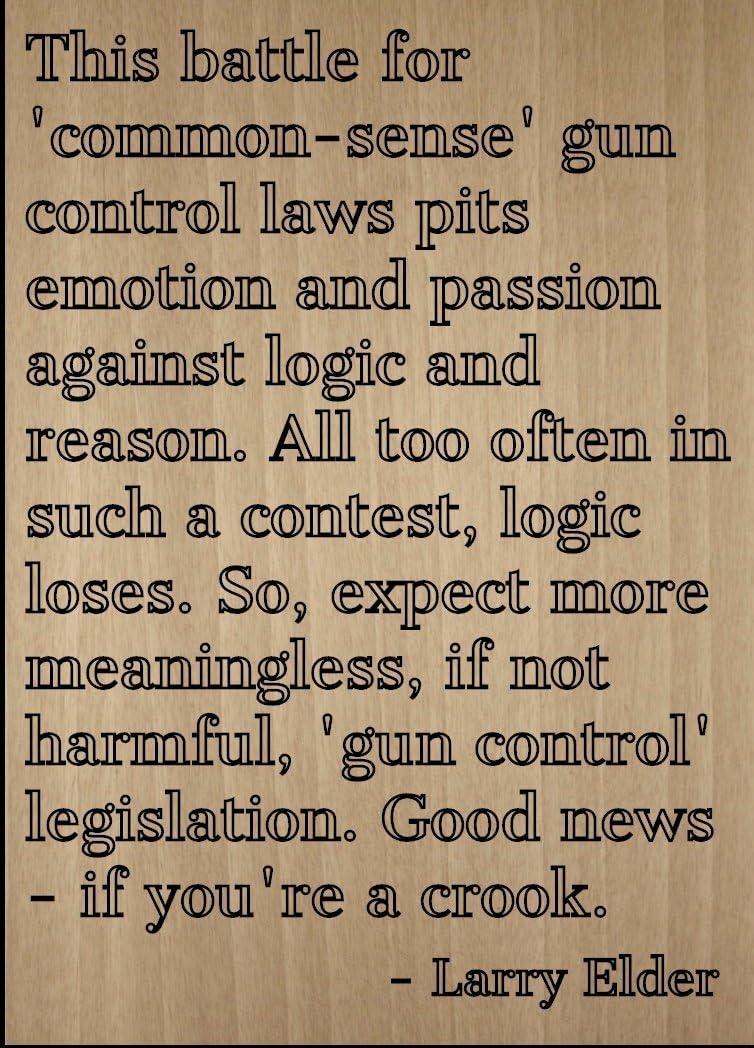 """Mundus Souvenirs This Battle for 'Common-Sense' Gun. Quote by Larry Elder, Laser Engraved on Wooden Plaque - Size: 8""""x10"""""""