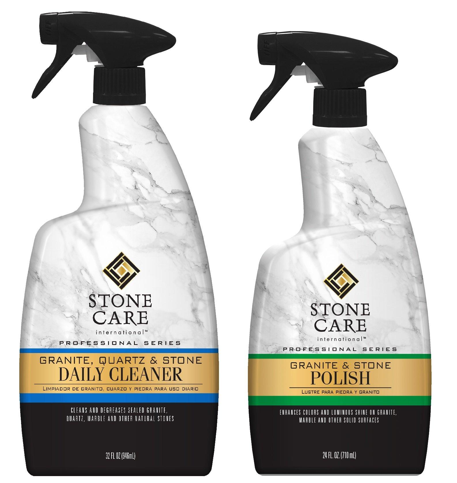 Stone Care International Granite Stone Cleaner and Polish Combo - 2 Pack - For Granite Marble Soapstone Quartz Quartzite Slate Limestone Corian Laminate Tile Countertop and Mor