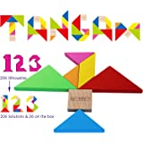 Wooden Tangram Puzzles for Kids - Large Size with Colourful Box and Over 200 Patterns - Children Travel Games - Wooden Brain Teaser Puzzle for Children and Adults