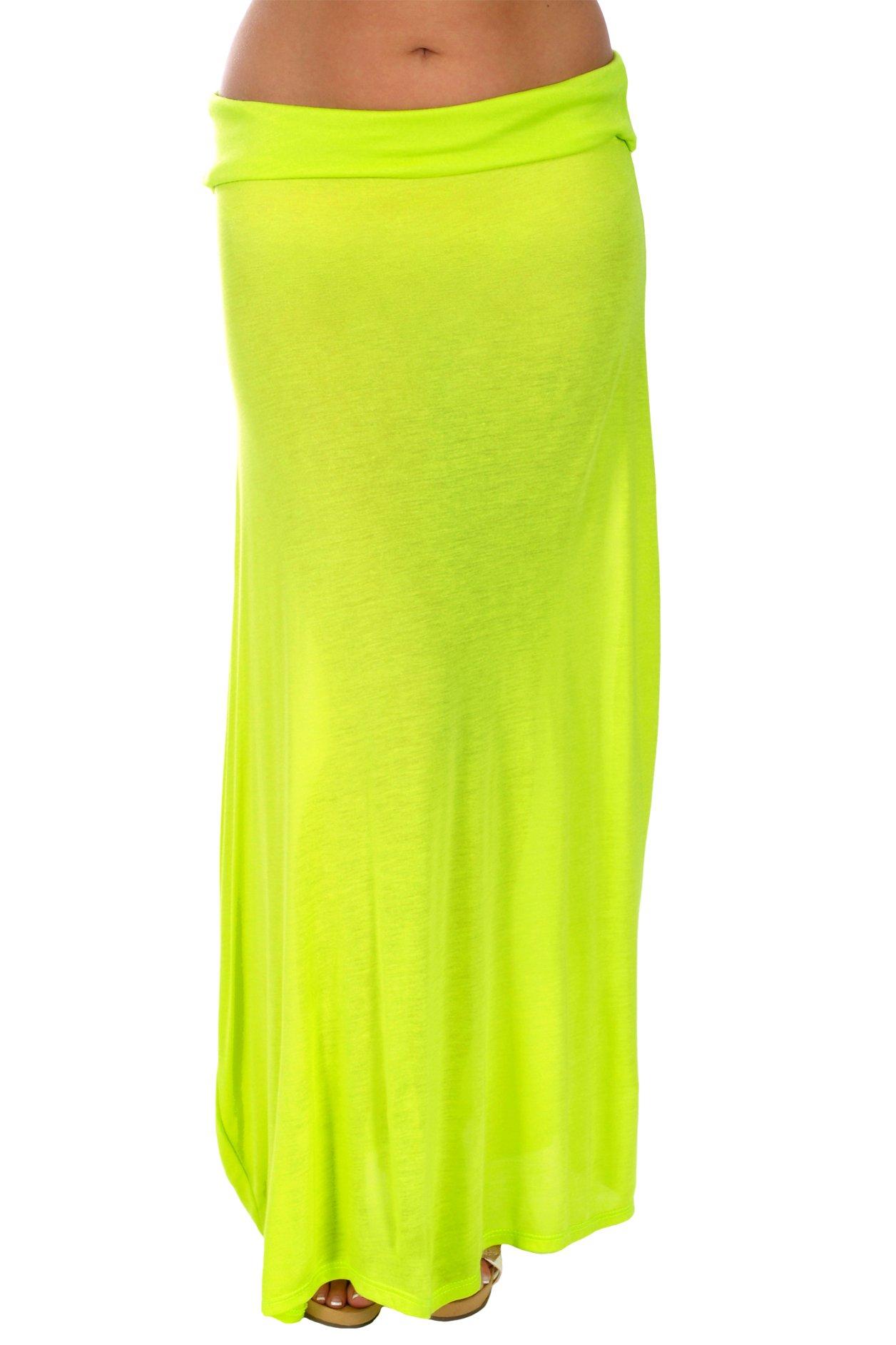 Gazooz Women's Semi-Sheer Maxi Skirt (Medium, Lime Green)
