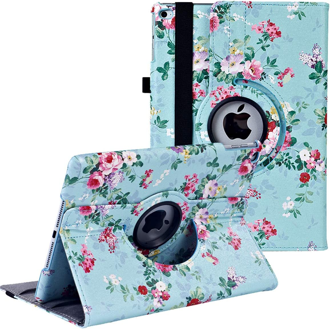 iPad 9.7 inch Case 2018 2017/ iPad Air Case - 360 Degree Rotating Stand Protective Cover Smart Case with Auto Sleep/Wake for Apple iPad 5th/6th Generation (Green Flower)