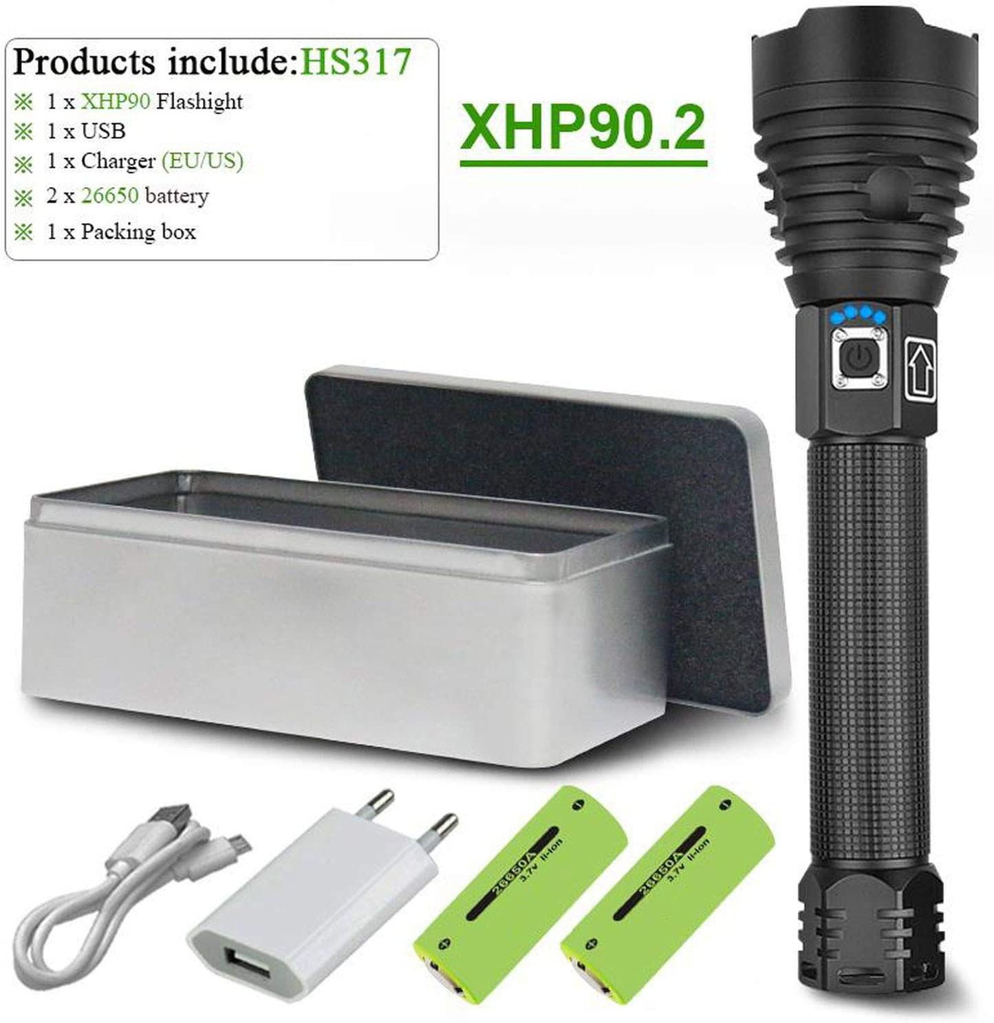 LED Torch Powerful Flashlight With XHP 90 Light Bulb Rechargeable Torch Handheld