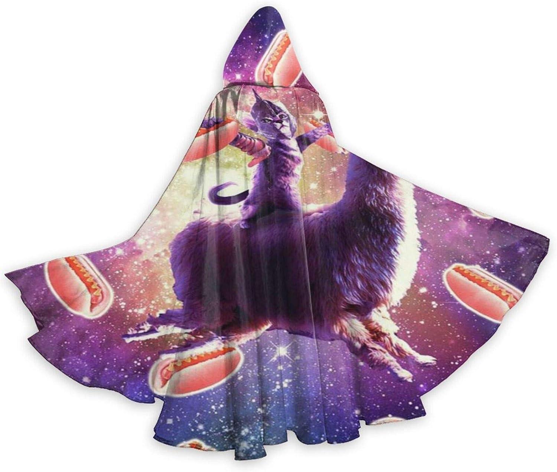 TYHG - Capa unisex con capucha para Halloween, juego de roles, 3D, diseño de gato espacial, llama, unicornio, galaxia, disfraz de fiesta de Navidad, para mujeres, hombres, cosplay