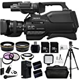 Sony HXR-MC2500E HXRMC2500E Shoulder Mount AVCHD Camcorder with 3-Inch LCD (Black) (PAL) + Audio-Technica ATR288W VHF TwinMic System, .43x Wide Angle Lens, 2.2x Telephoto Lens, + MORE