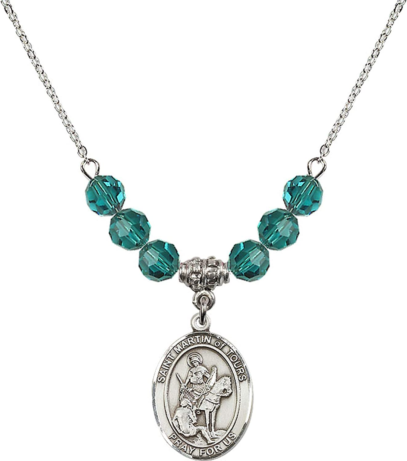 Bonyak Jewelry 18 Inch Rhodium Plated Necklace w// 6mm Blue December Birth Month Stone Beads and Saint Martin of Tours Charm