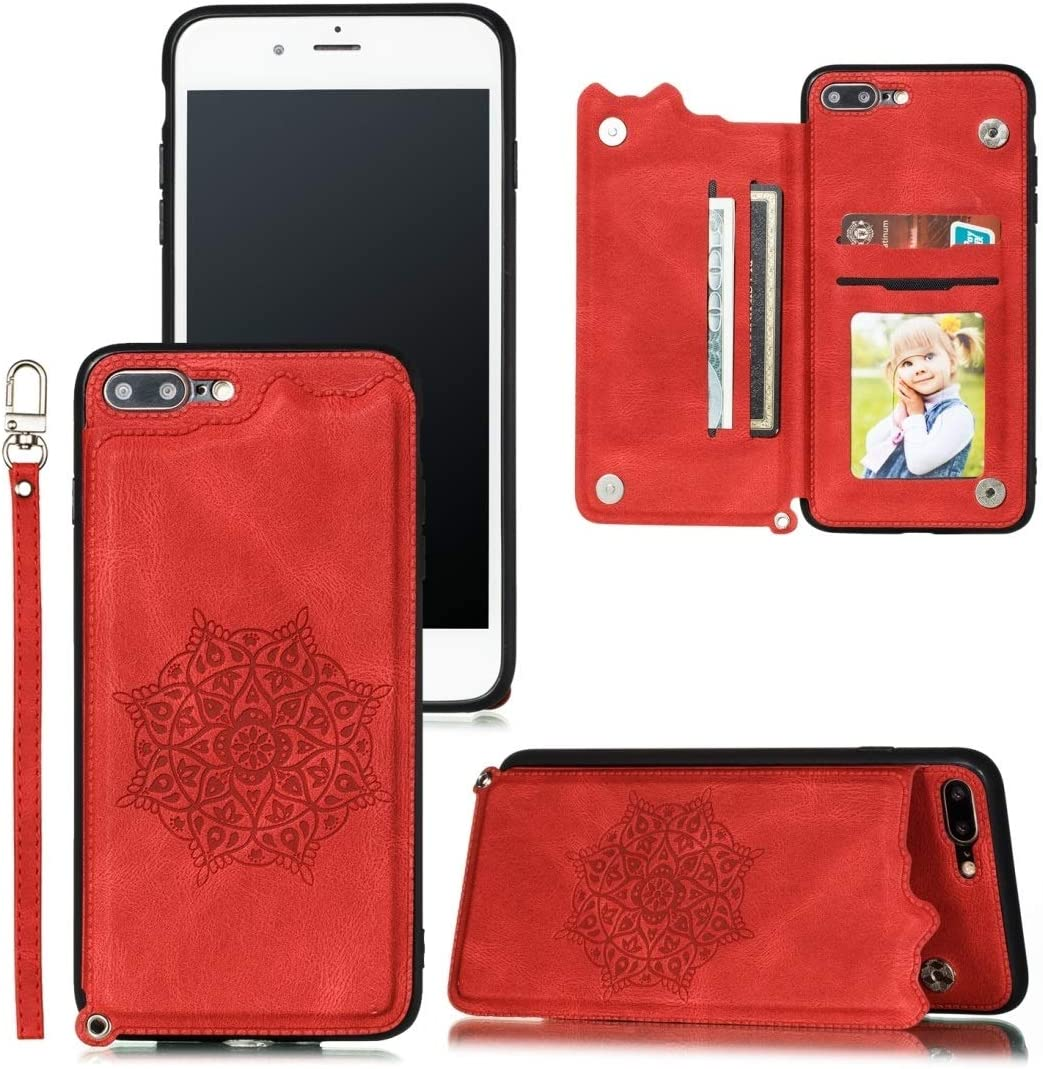 DESHENG Smartphone Protective Clips for iPhone 8 Plus & 7 Plus Mandala Embossed PU + TPU Case with Holder & Card Slots & Photo Frame & Hand Strap Phone Bag (Color : Red)