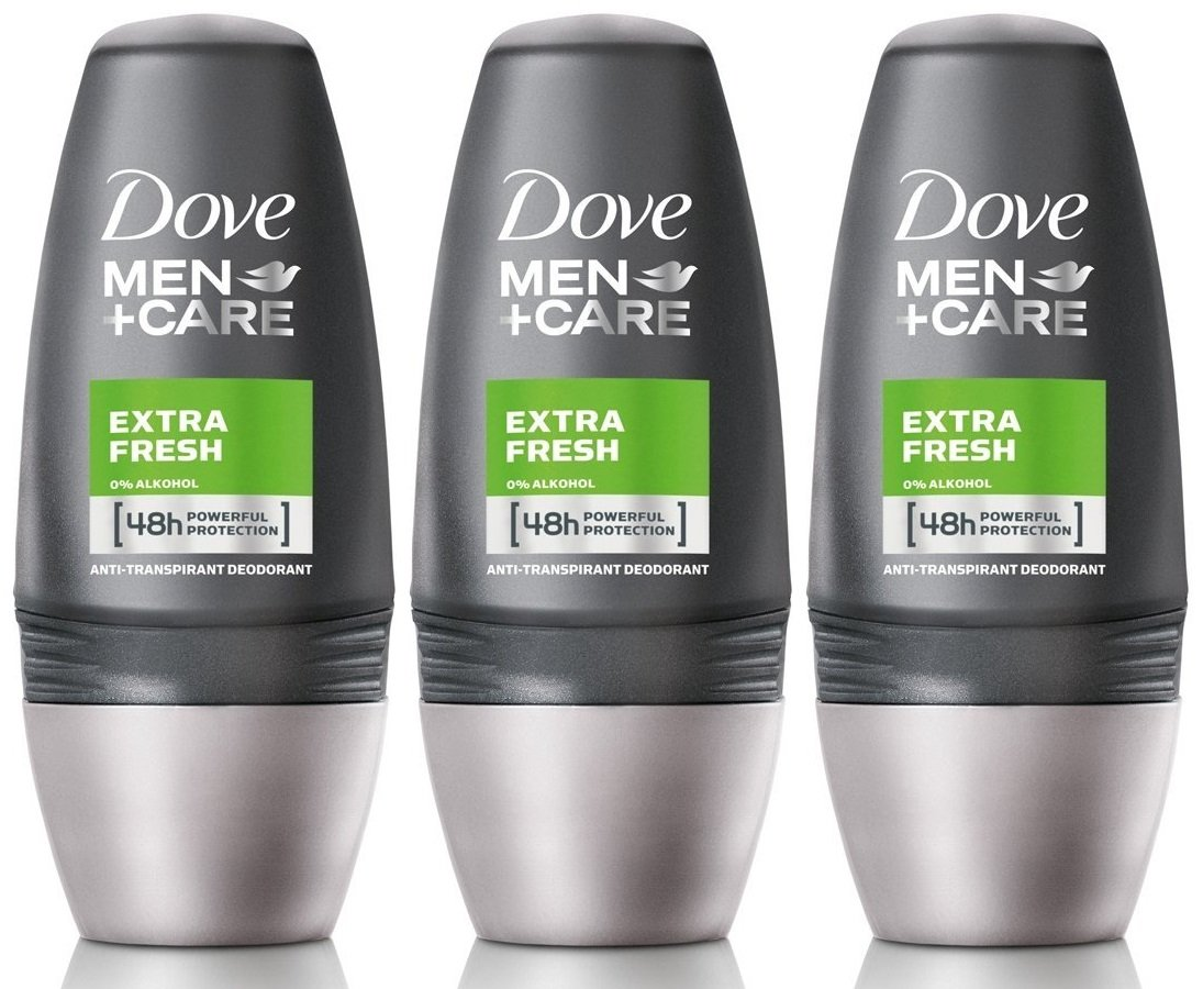 Dove Men + Care Extra Fresh Antiperspirant and Deodorant Roll-on, 50 Ml/1.7 Ounce (Pack of 3)