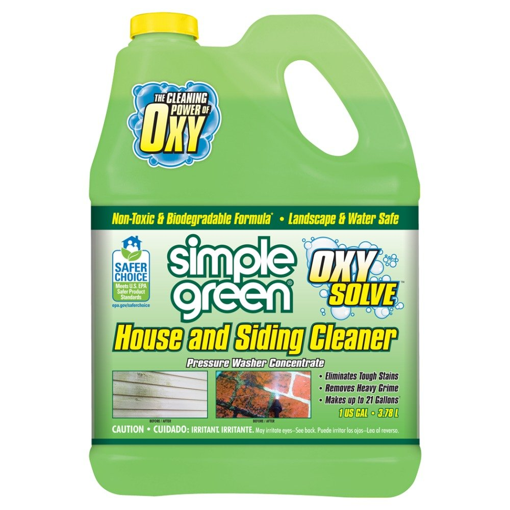 SIMPLE GREEN Oxy Solve House and Siding Pressure Washer Cleaner - Removes Stains from Mold & Mildew on Vinyl, Aluminum, Wood, Brick & Stucco - Concentrate 1 Gal. by SIMPLE GREEN