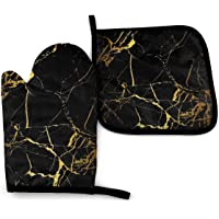 RENGMIAN Black Gold Marble Oven Mitts and Pot Holders Heat Resistant Oven Gloves Safe Cooking Baking Grilling
