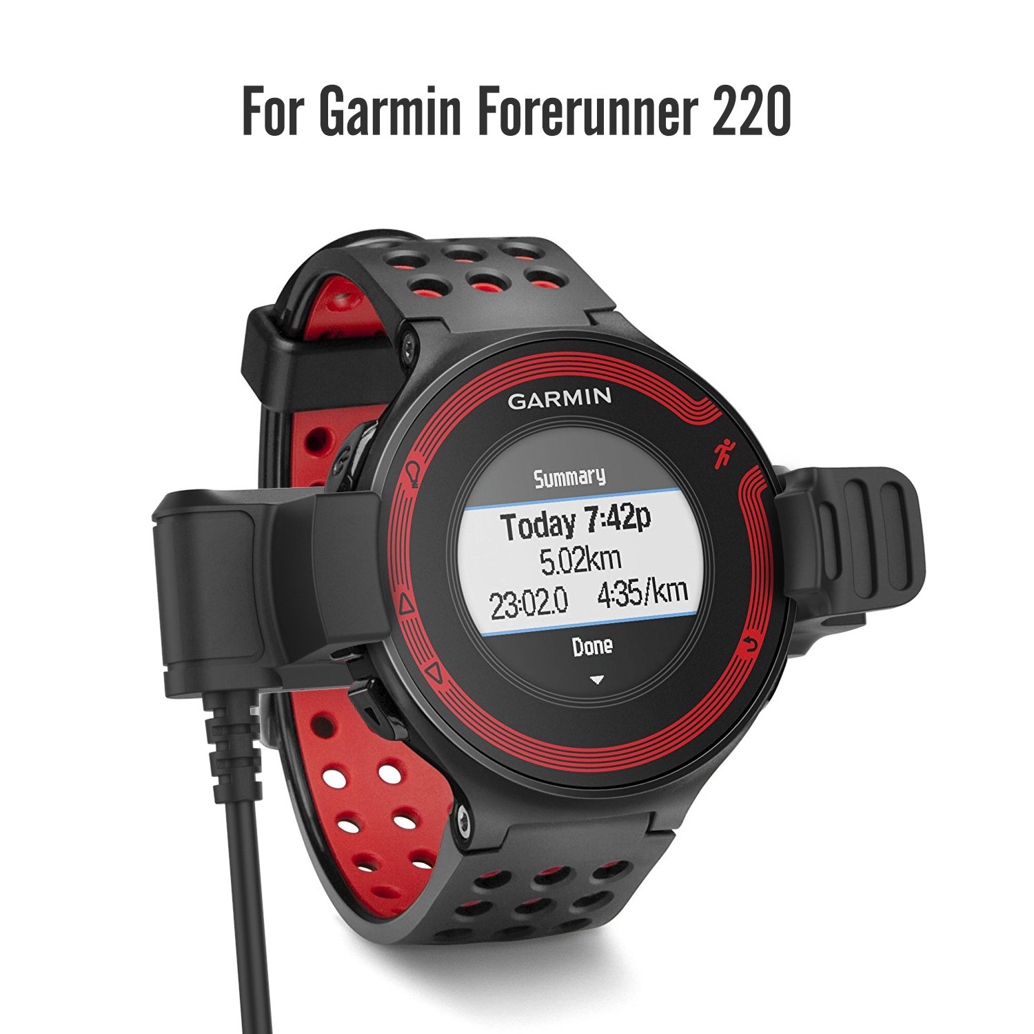 Garmin Forerunner 220 Charger Dock, MoKo USB Data Sync Charge Cradle Dock Charger with 1M Charging Cable for Garmin Forerunner 220 Smart Watch, Black by MoKo (Image #2)