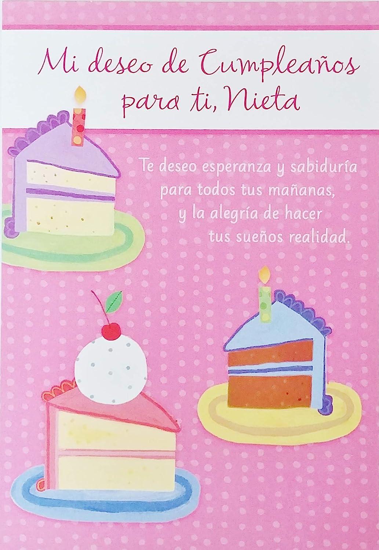 Amazon Com Mi Deseo De Cumpleanos Para Ti Nieta Happy Birthday Granddaughter Greeting Card In Spanish Espanol Office Products