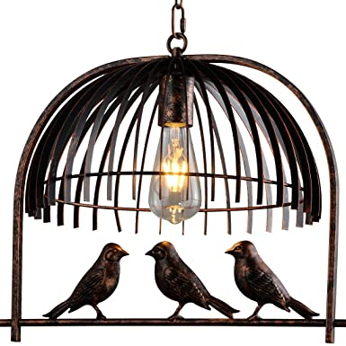 Traditional Birdcage Bronze Pendant Lighting – Battaa CTI5010 2018 New Design Creative Lovely Birds Chandelier Vintage Loft Metal Ceiling Lamp for Bedroom Restaurant Cafe Bar 2-Year Warranty