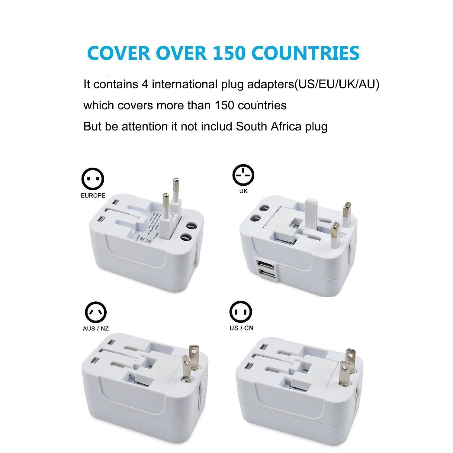 Travel Adapter,Worldwide All in one Universal AC Power Plug Adaptor,Free USB Cable (Support Android/Apple),Wall Charger with Dual USB Charging Ports/USA/EU/UK/AUS,Cell phone laptop (White)