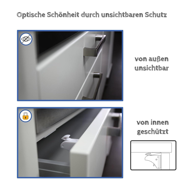 4+1 10+2 Set Magnetschloss Unsichtbare Baby Kindersicherung Schrankschloss HH