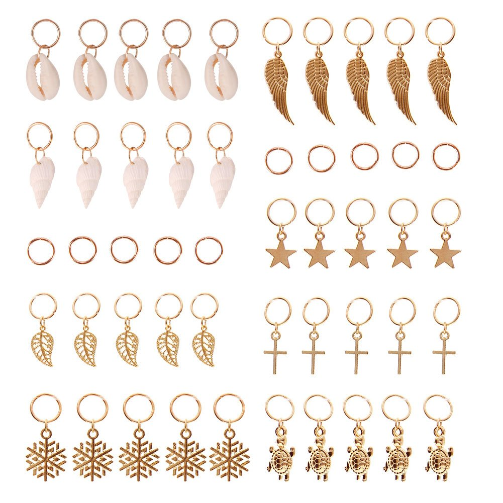 TR.OD 50 Pieces Gold Shell Leaves Star Conch Snowflake Pendant Charms Rings Set Hair Clip Headband Accessories HITTIME
