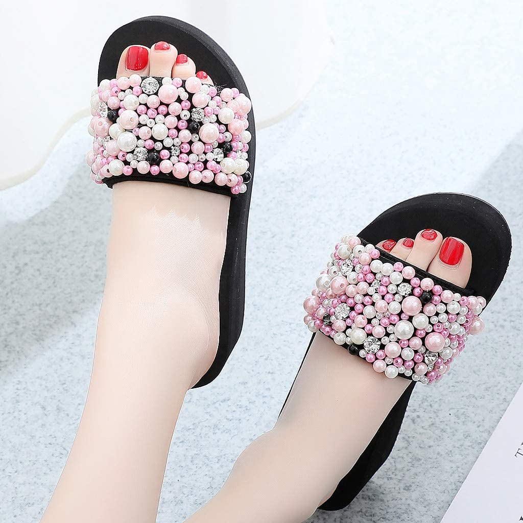 Moonker Girls Women Summer Fashion Wedges Slippers Ladies Pearl Non-Slip Beach Slides Shoes