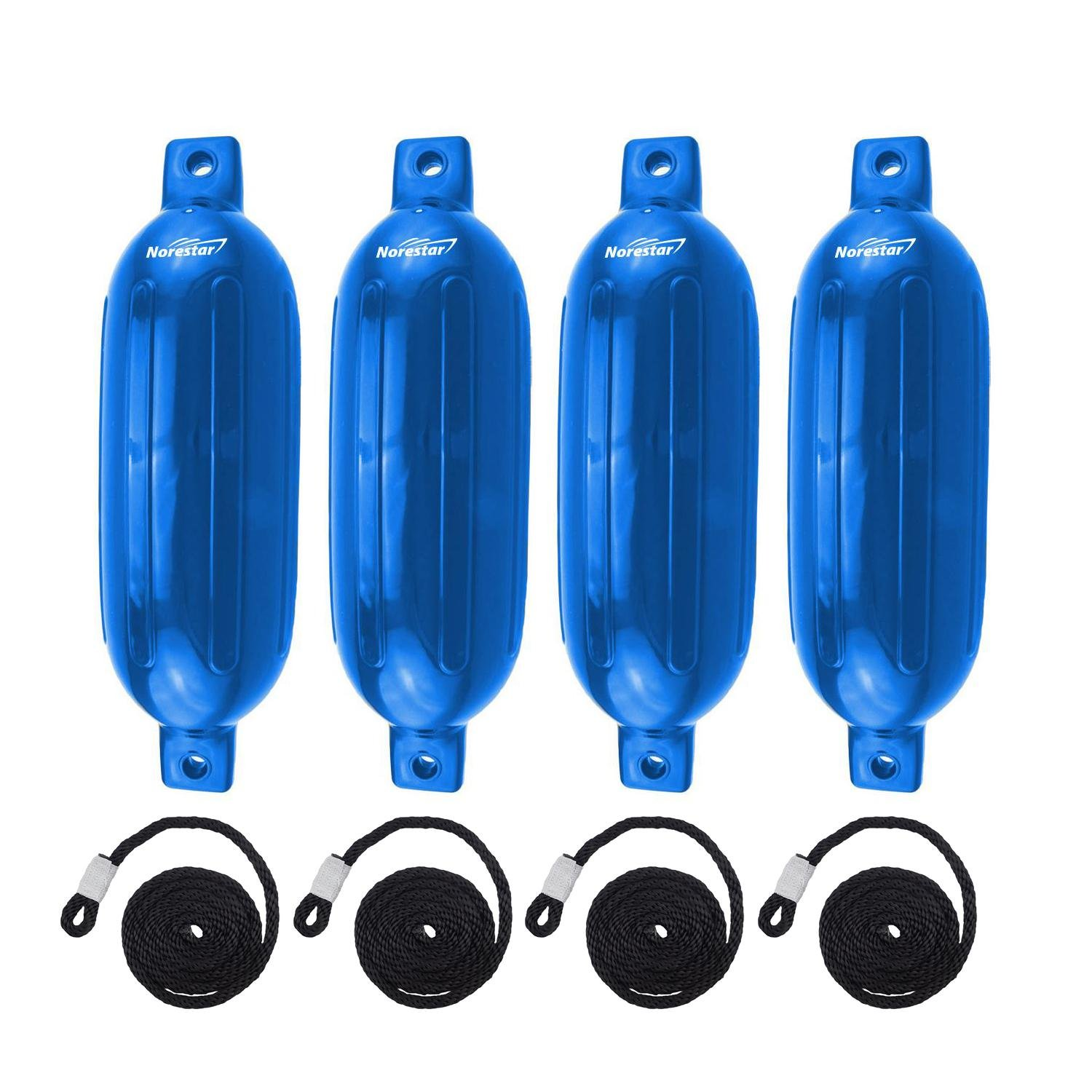 Norestar 4-Pack, 8.5'' x 27'' Ribbed Fender Deflated with 4 Fender Lines for Boat or Dock (Blue)
