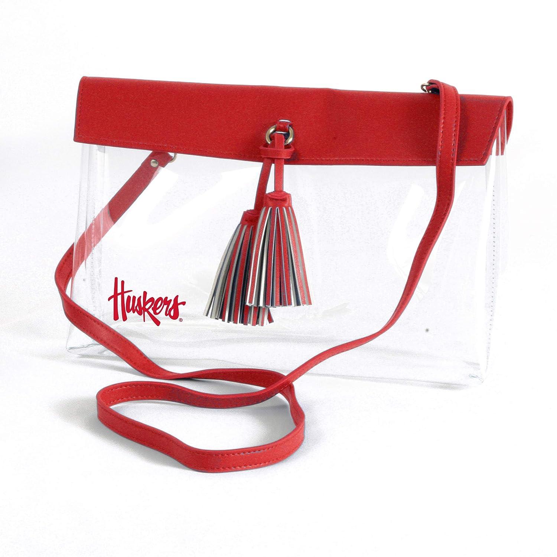 Vegan Leather Trim and Tassels Desden Nebraska Cornhuskers Clear Handbag with Logo